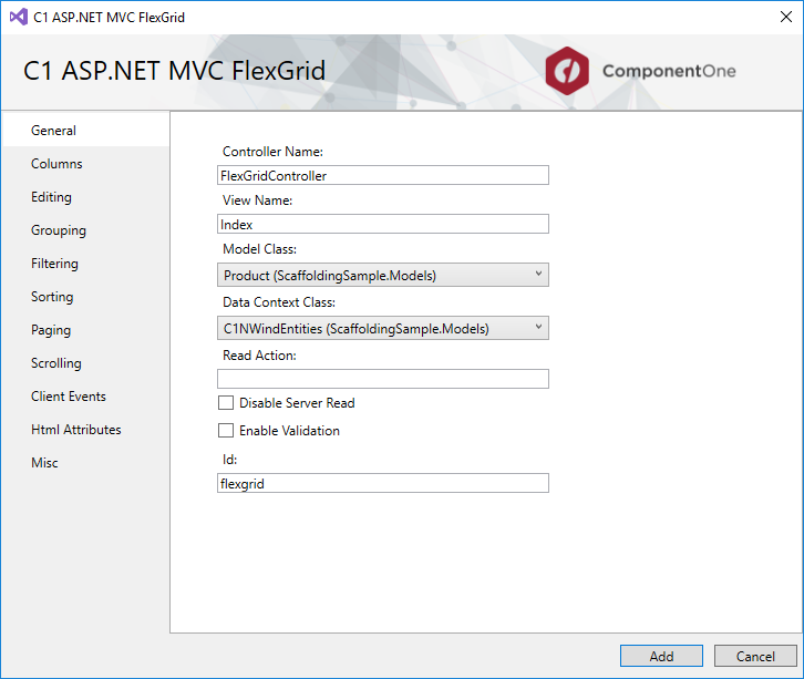 ComponentOne ASP.NET Core MVC Controls