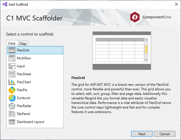 ComponentOne ASP NET MVC Controls - Using C1 Scaffolding